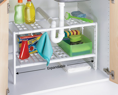 Easy Home Expandable Under Sink Shelf