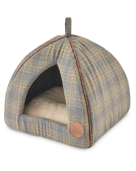 Cat Igloo Brown Check Bed