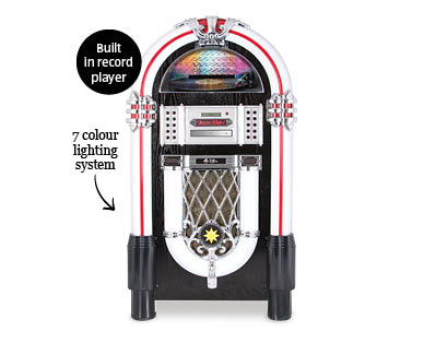 jukebox with record player cd player and bluetooth aldi. Black Bedroom Furniture Sets. Home Design Ideas