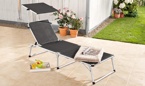 Chaise longue avec pare soleil lidl france archive Chaise longue jardin avec pare soleil
