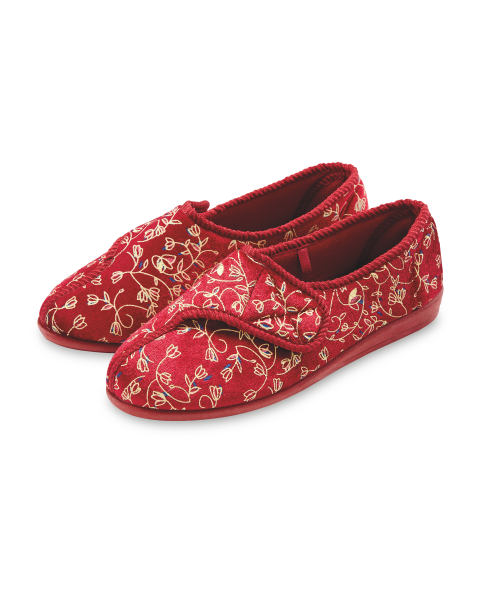 Avenue Burgundy Floral Slippers
