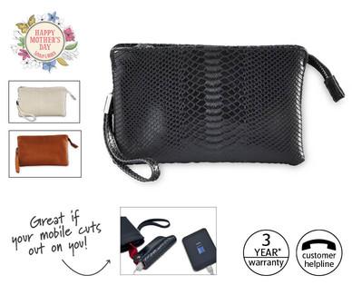clutch bag with powerbank aldi ireland specials archive. Black Bedroom Furniture Sets. Home Design Ideas
