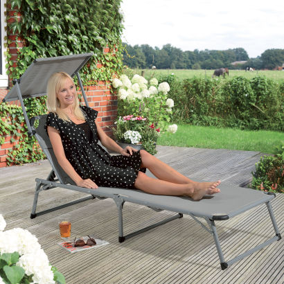 chaise longue bain de soleil avec pare soleil aldi france archive des offres promotionnelles. Black Bedroom Furniture Sets. Home Design Ideas